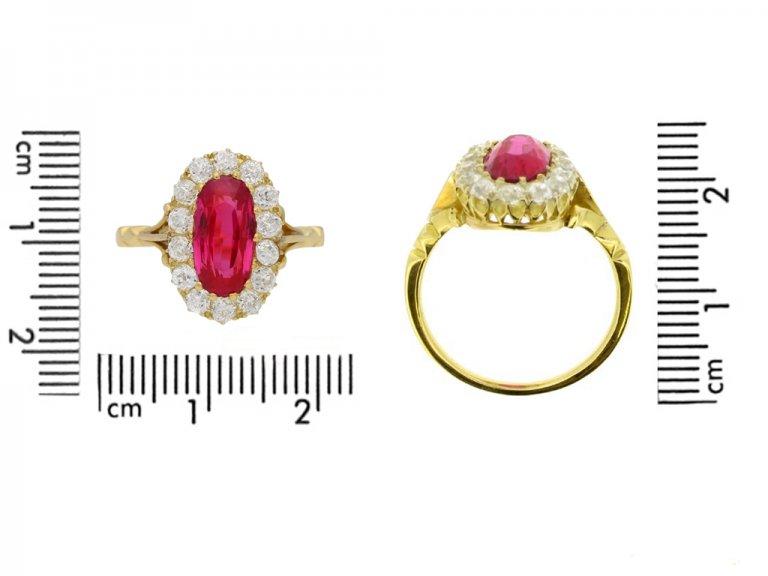size view  Antique natural Burmese ruby and diamond ring, circa 1900. berganza hatton garden