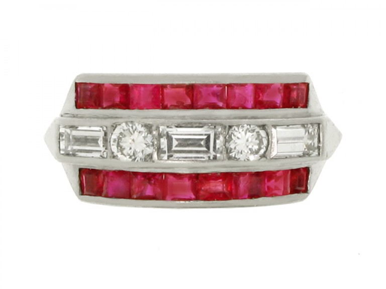 front view Ruby and diamond half hoop ring, American, circa 1950.