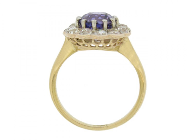 back view Antique natural violet sapphire and diamond coronet cluster ring,