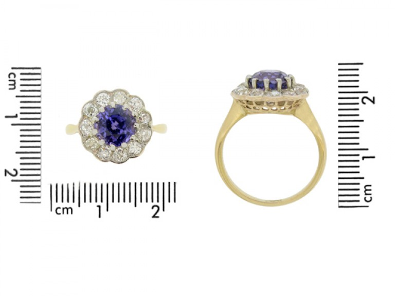 size view Antique natural violet sapphire and diamond coronet cluster ring,
