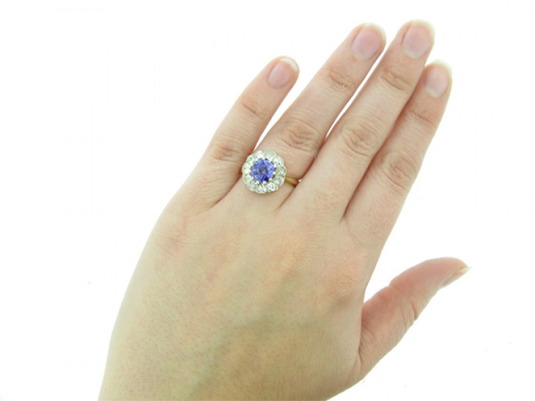 hand view Antique natural violet sapphire and diamond coronet cluster ring,