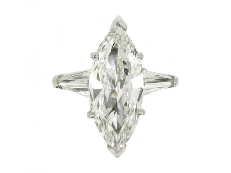 front view Marquise diamond  ring with tapered baguette diamond set  shoulders