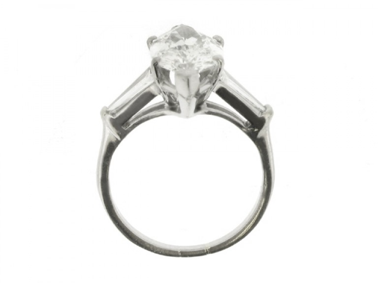back view Marquise diamond  ring with tapered baguette diamond set  shoulders