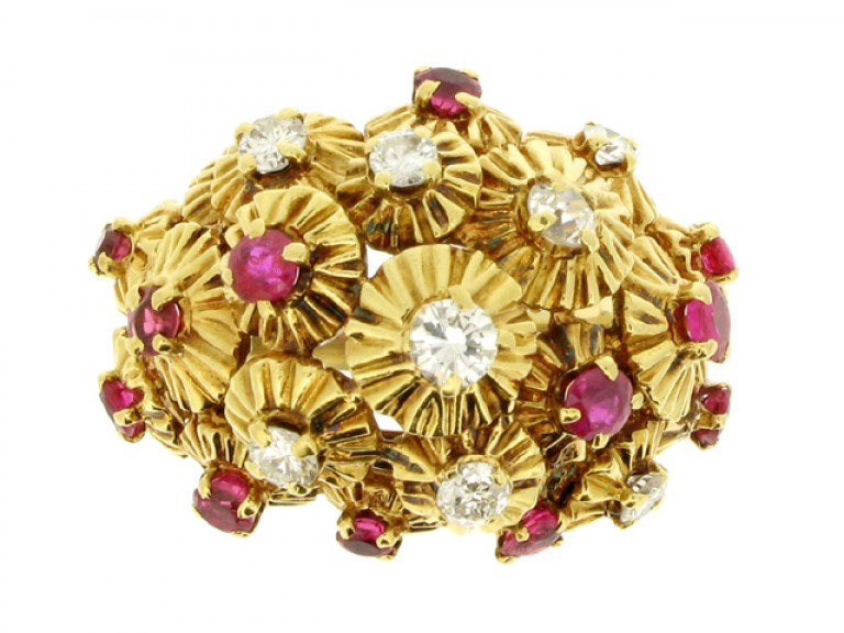 front veiw Ruby and diamond dress ring, French, circa 1950.