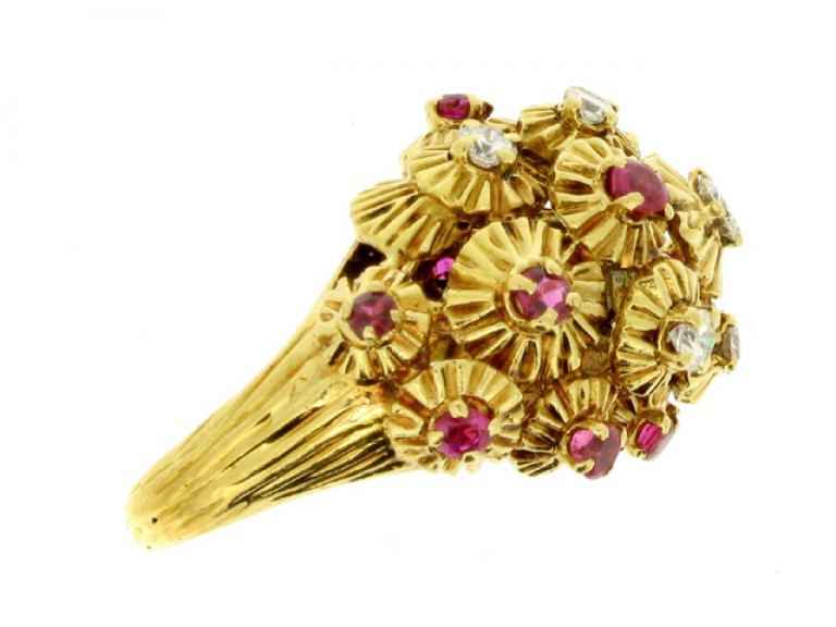 side view Ruby and diamond dress ring, French, circa 1950.