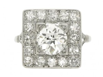 front veiw Art Deco diamond coronet cluster ring, circa 1935.