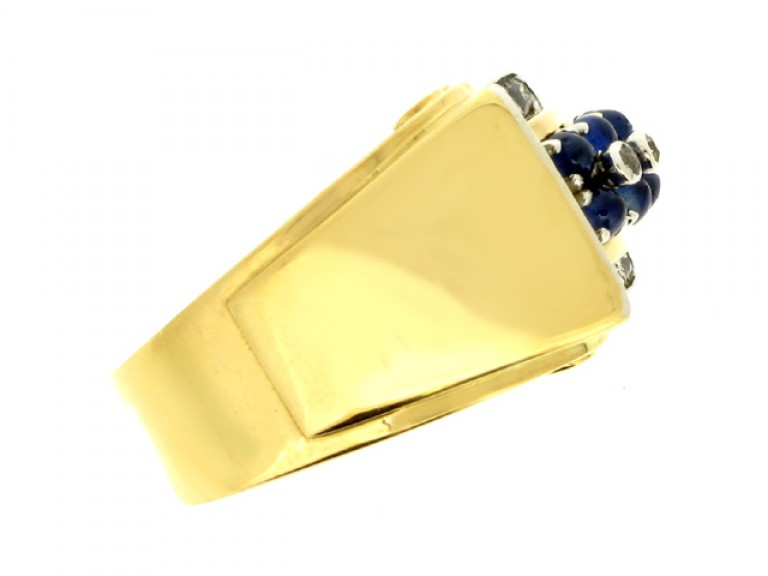 side view Cabochon sapphire and diamond cocktail ring, circa 1940.