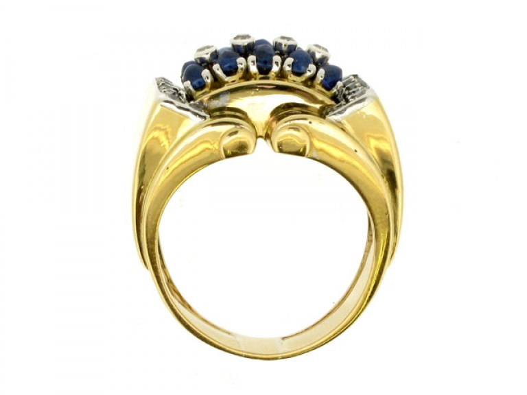 back view Cabochon sapphire and diamond cocktail ring, circa 1940.