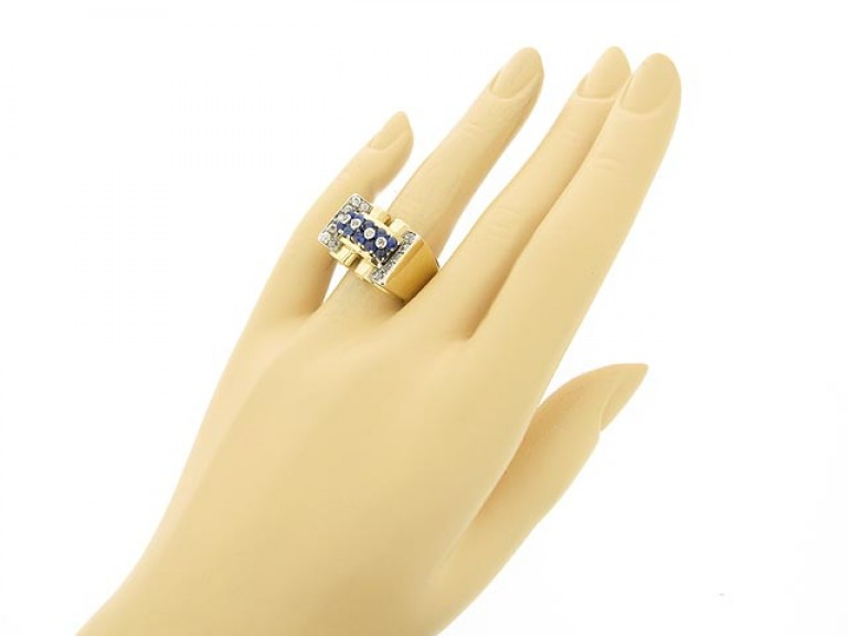 hand view Cabochon sapphire and diamond cocktail ring, circa 1940.