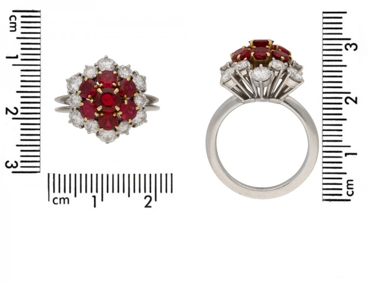 front Boucheron ruby diamond coronet ring berganza hatton garden