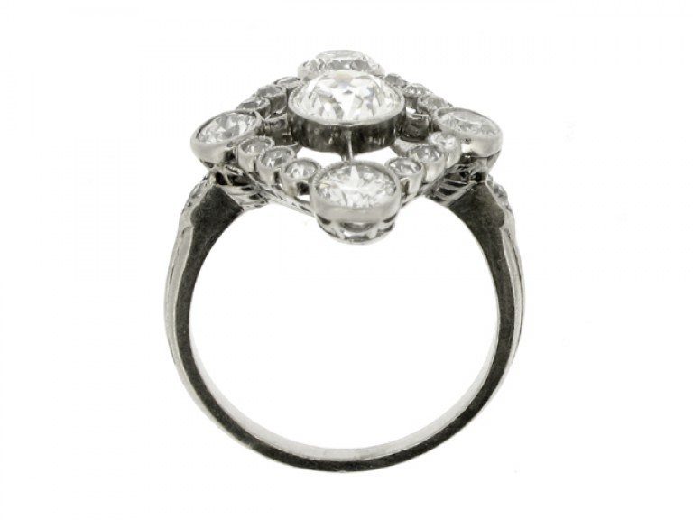 back view Diamond cluster ring, circa 1920.