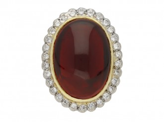 Cabochon garnet and diamond ring berganza hatton garden