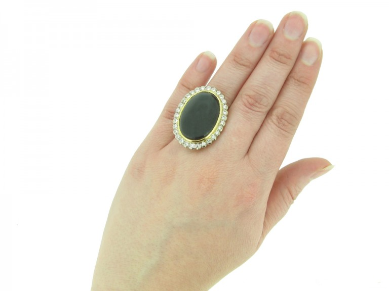 Cabochon garnet and diamond ring berganza hatton garden