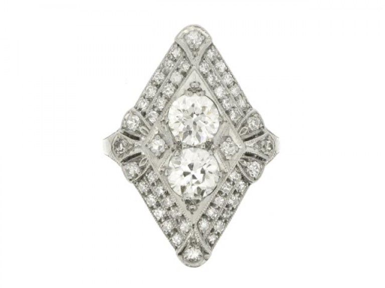 front view Marquise shaped diamond cluster ring, American, circa 1920.