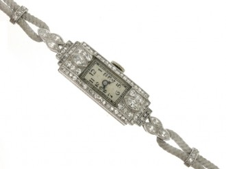 front view Art Deco diamond wristwatch, circa 1930.
