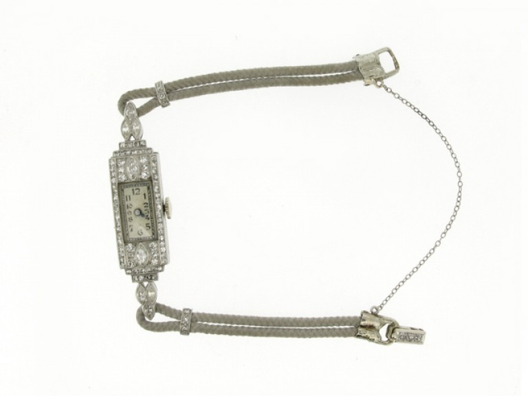 side view Art Deco diamond wristwatch, circa 1930.