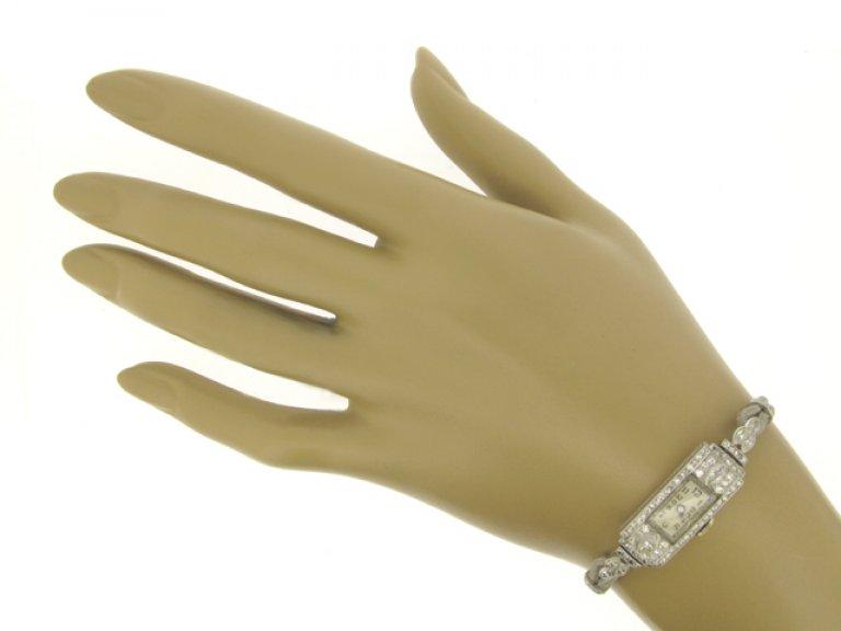 hand view Art Deco diamond wristwatch, circa 1930.