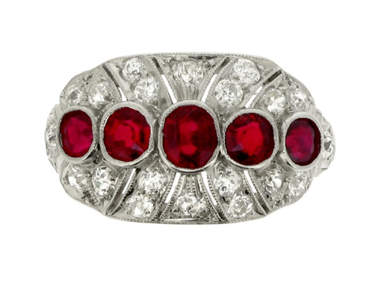 front view Five stone ruby and diamond cluster ring, circa 1920.
