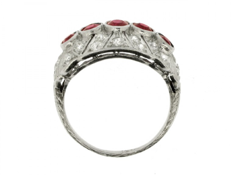 back view Five stone ruby and diamond cluster ring, circa 1920.