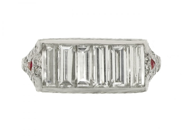 front view Baguette cut diamond and ruby ring, circa 1935.
