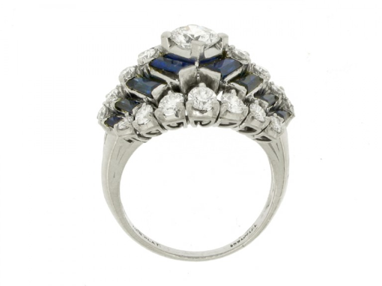 back view Tiffany & Co. sapphire and diamond ring, American, circa 1960.