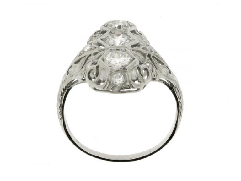 back view Three stone diamond cluster ring, circa 1920.