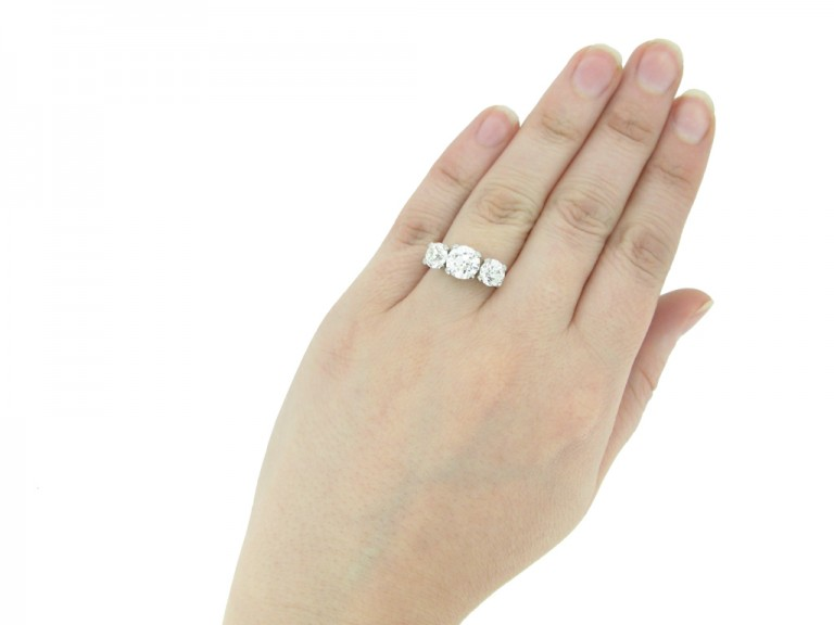 Three stone old cut diamond ring by Jabel berganza hatton garden