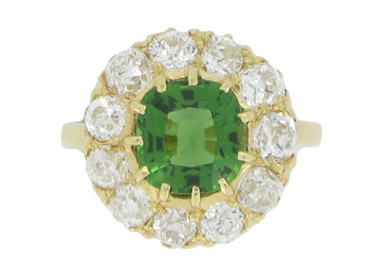 front view Antique tourmaline and diamond coronet cluster ring, circa 1900.