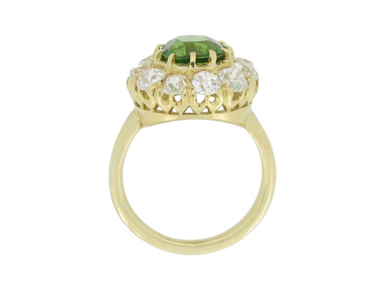 back view Antique tourmaline and diamond coronet cluster ring, circa 1900.