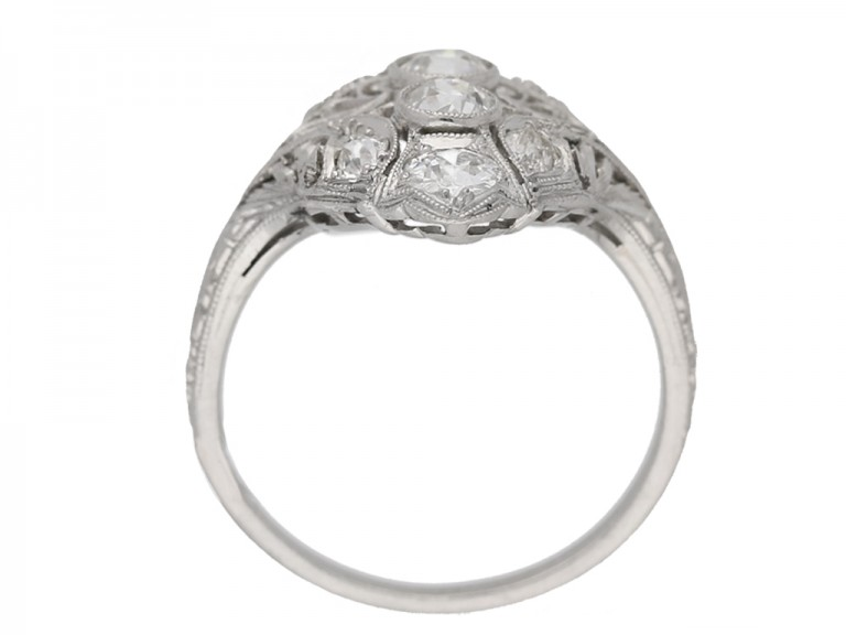 front view antique diamond ornate ring berganza hatton garden