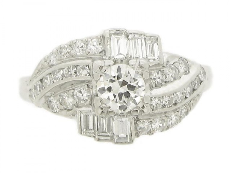 front view Diamond cluster ring, circa 1950.