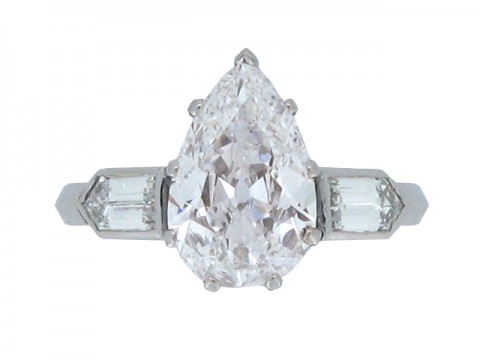 front view Old mine drop shape diamond ring, circa 1935.