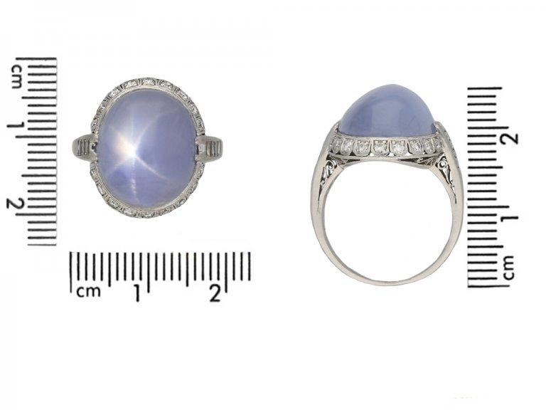 Star sapphire diamond coronet cluster ring berganza hatton garden