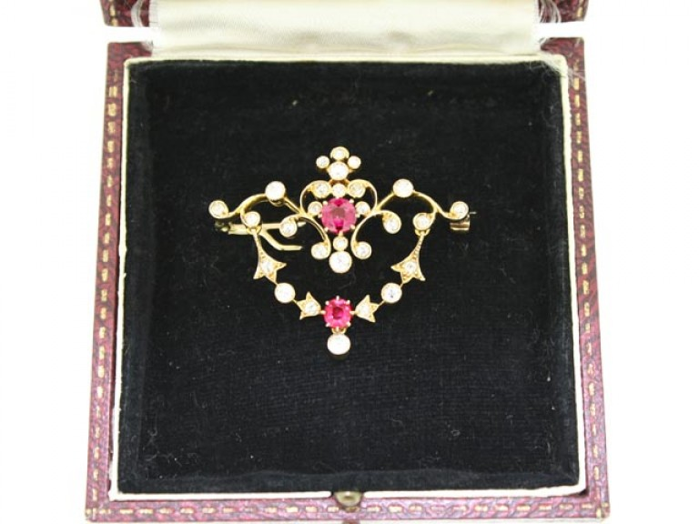 boxed view Antique ruby and diamond pendant / brooch,