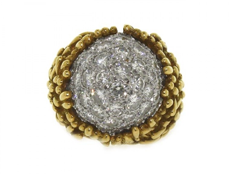 front view Hammerman Brothers diamond cluster ring, circa 1960.