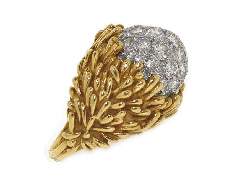 side veiw Hammerman Brothers diamond cluster ring, circa 1960.