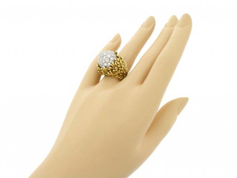 hand view Hammerman Brothers diamond cluster ring, circa 1960.