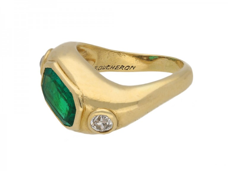 side Boucheron emerald diamond ring berganza hatton garden