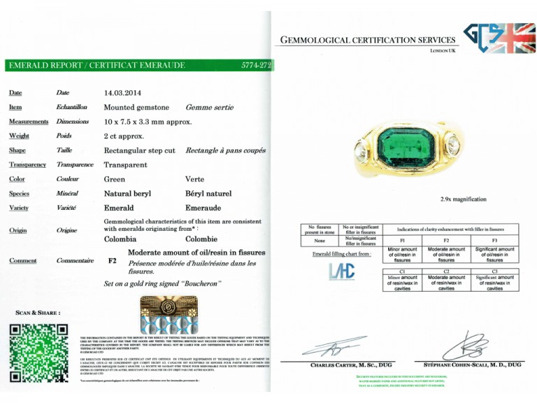 cert Boucheron emerald diamond ring berganza hatton garden