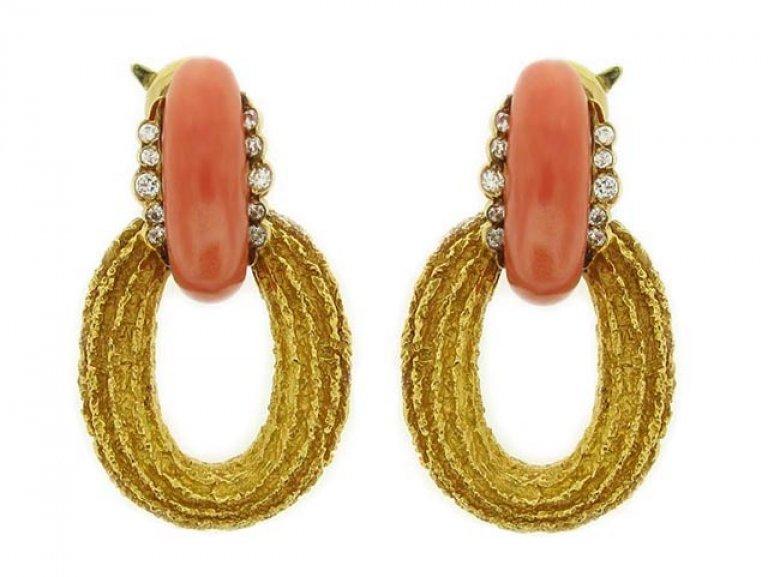 front view david morris coral diamond earrings berganza hatton garden