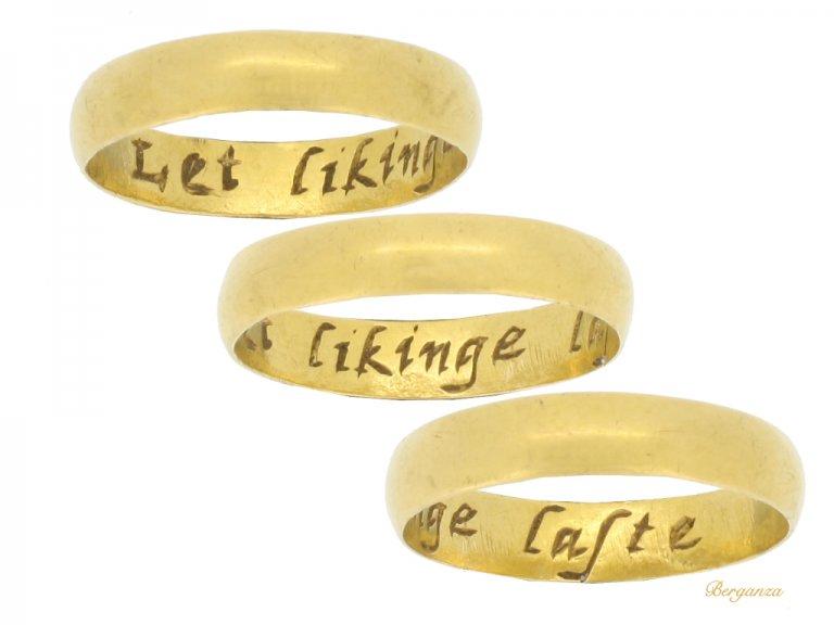 Posy ring 'Let likinge laste', circa 17th -18th century.
