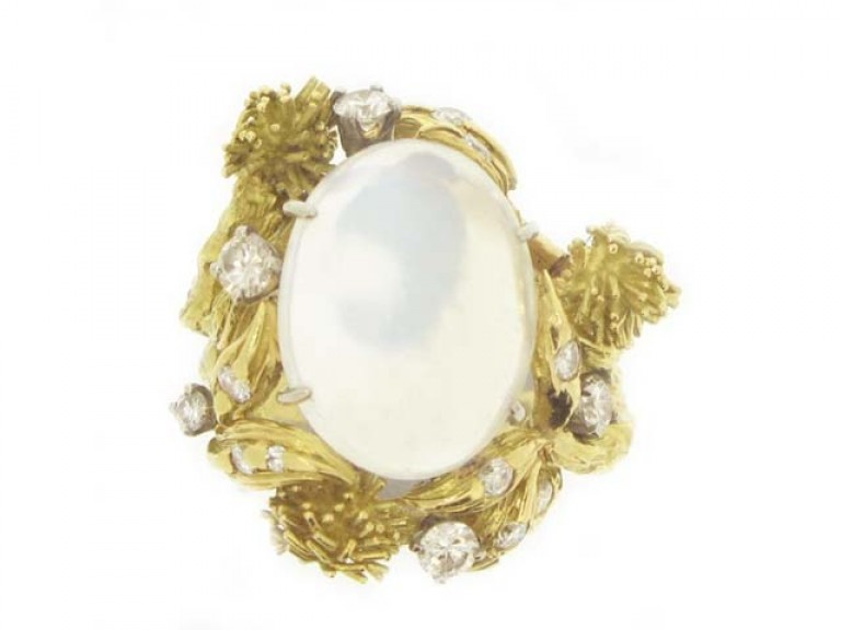 front view Eugene Meister moonstone and diamond ring, circa 1960.