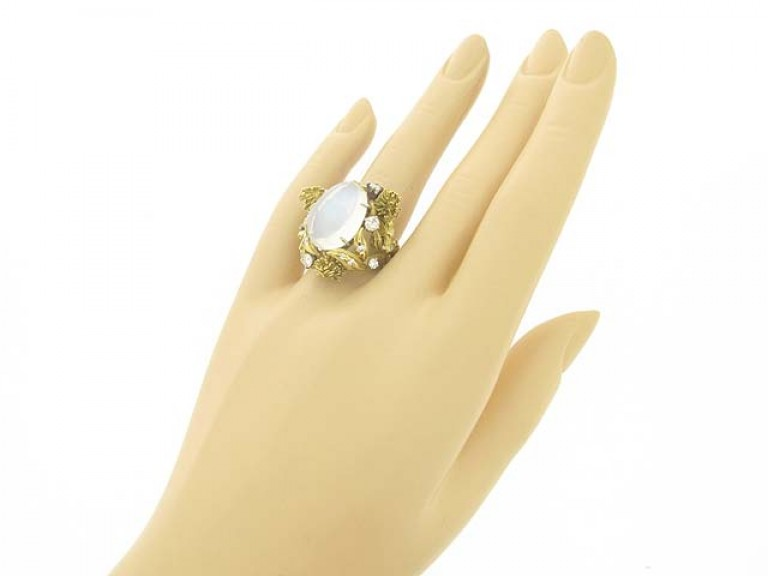 hand view Eugene Meister moonstone and diamond ring, circa 1960.