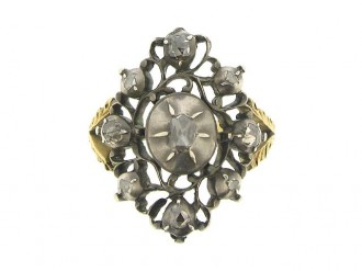 front view Antique rose cut diamond ring, Dutch, circa 1800.