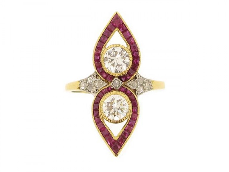 front view Belle Époque diamond and calibré ruby ring, French, circa 1905.