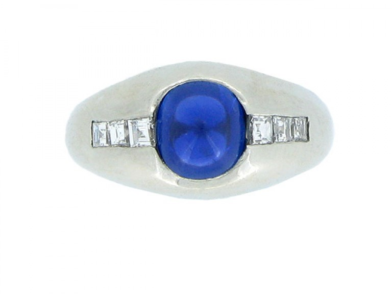 front view Bailey Banks & Biddle cabochon sapphire and diamond ring, circa 1930.