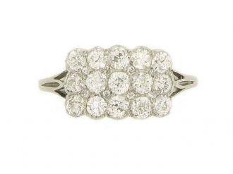 front view Edwardian three row diamond ring, circa 1905.
