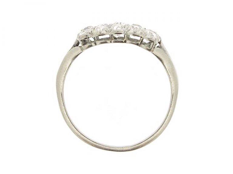 back view Edwardian three row diamond ring, circa 1905.
