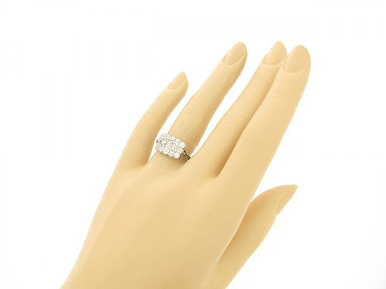 hand view Edwardian three row diamond ring, circa 1905.