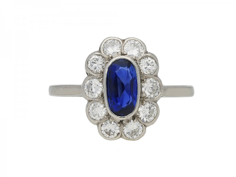 Sapphire and diamond coronet cluster ring berganza hatton garden